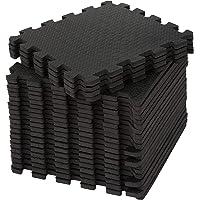 edukit EVA Gym Foam Mat; 24 stuks en 22 randen; 30,5 x 30,5 cm; zwart; antislip in elkaar grijpende puzzelvloertegels…