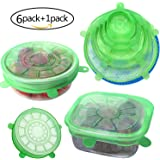 Silicone Stretch Lids(Set Of 6),Food Huggers,Reusable Durable Food Covers,Expandable To Fit Various Sizes and Shapes,Superior For Keeping Food Fresh,Dishwasher and Freezer Safe,1 Potholders As Bonus