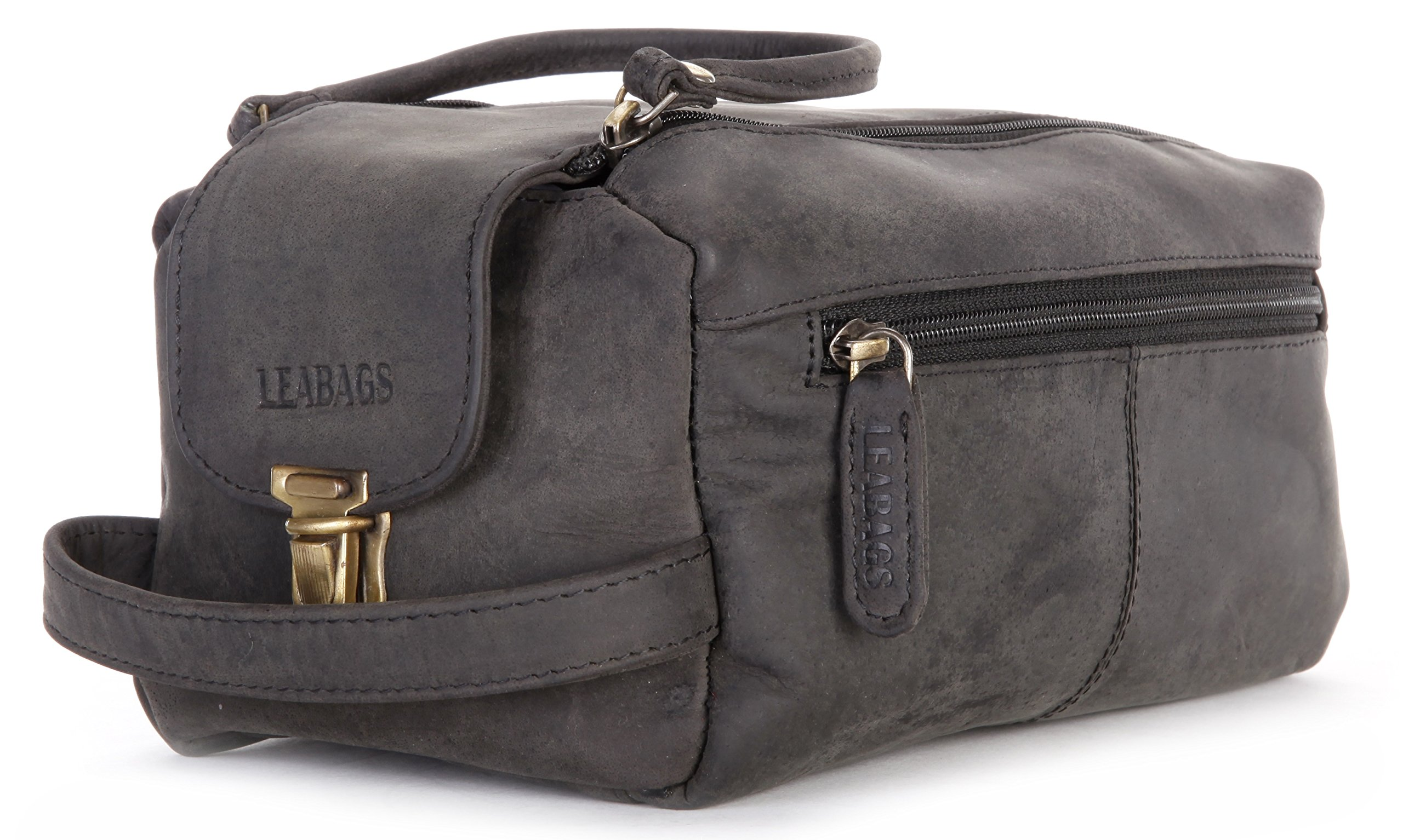 LEABAGS Palm Bay genuine buffalo leather toiletry bag in vintage style - Black