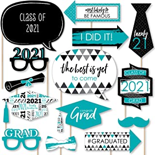 product image for Big Dot of Happiness Teal Grad - Best is Yet to Come - Turquoise 2021 Graduation Party Photo Booth Props Kit - 20 Count