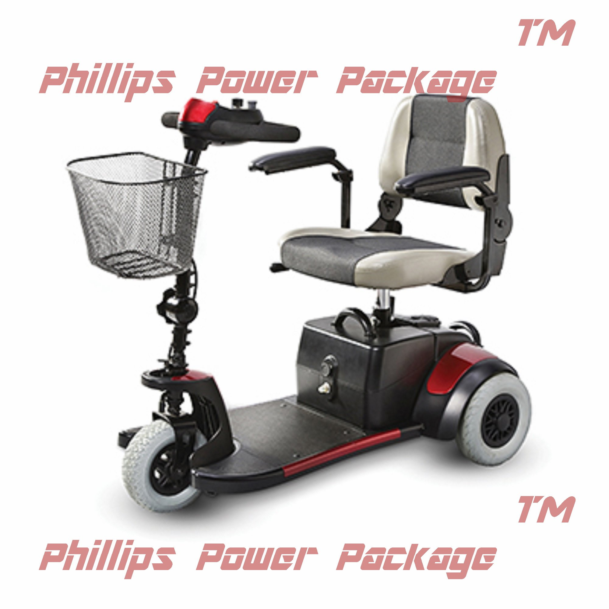 Merits Health Products, Mini Coupe, 3-Wheel Super Micro Electric Scooter, 16.5''Wx15.5''D, Red - PHILLIPS POWER PACKAGE TM - TO $500 VALUE
