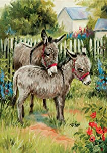 Toland Home Garden Backyard Burrows 12.5 x 18 Inch Decorative Farm Barn Animal Donkey Garden Flag