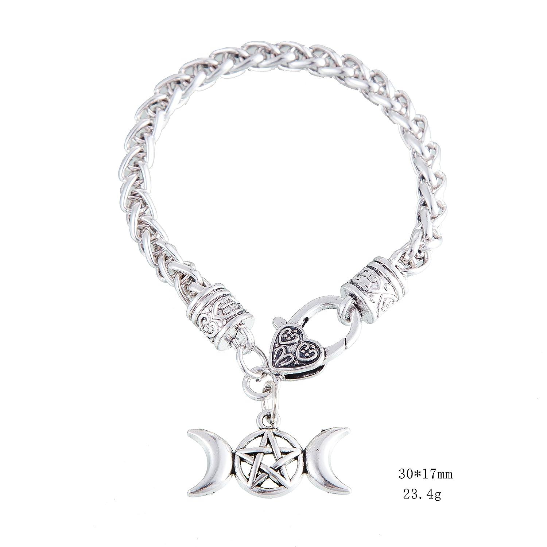 Vassago Ancient Myth Wicca Talisman Triple Moon Pentagram Pentastar Crescent Pendant Wheat Chain Bracelet