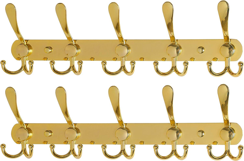 Heavy Duty 8 Tri Hooks Stainless Steel Bronze Dseap Coat Rack Wall Mounted Metal Coat Hook Rail for Coat Hat Towel Purse Robes Mudroom Bathroom Entryway