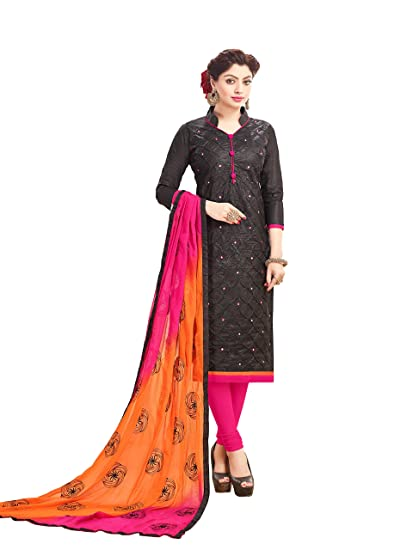 1efe4e5482 DnVeens Women Cotton Mirror Work Churidar Salwar Suit Material Unstitched  Salwar Kameez (BLACK)