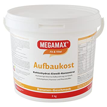 MEGAMAX - Aufbaukost - Suplemento para ganar peso y masa muscular - Plátano - Solo un 0,5% de grasa - 3 kg: Amazon.es: Deportes y aire libre