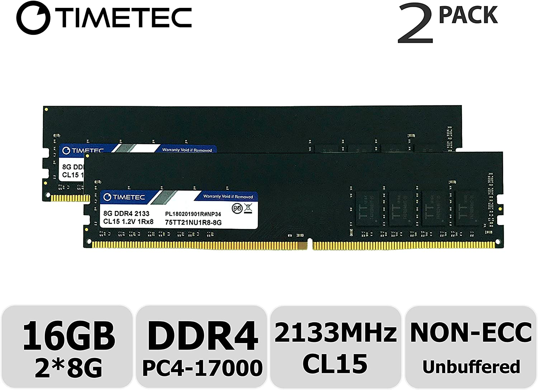 Timetec Hynix IC 16GB KIT(2x8GB) DDR4 2133MHz PC4-17000 Unbuffered Non-ECC 1.2V CL15 1Rx8 Single Rank 288 Pin UDIMM Desktop Memory RAM Module Upgrade (16GB KIT(2x8GB))