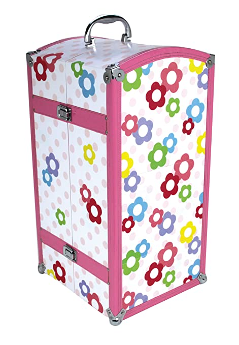 Superieur Amazon.com: 18 Inch Doll Trunk U0026 3 Hangers Fits American Girl Doll Bed  Rooms U0026 More! Doll Furniture Unit In White With Polka Dot Pattern U0026  Flowers, ...