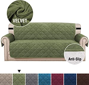 "H.VERSAILTEX Luxurious Velvet Sofa Covers for Dogs Anti Slip Sofa Slipcover Sofa Cover Furniture Protector with Pockets and 2"" Straps, Quilted Seam Sofa Protector Seat Width Up to 70"" (Sofa: Loden)"