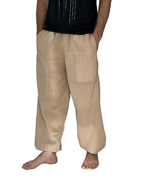 228b82a400 Love Quality Baggy Pants Men's One Size Cotton Harem Pants Hippie Boho  Trousers (Beige)
