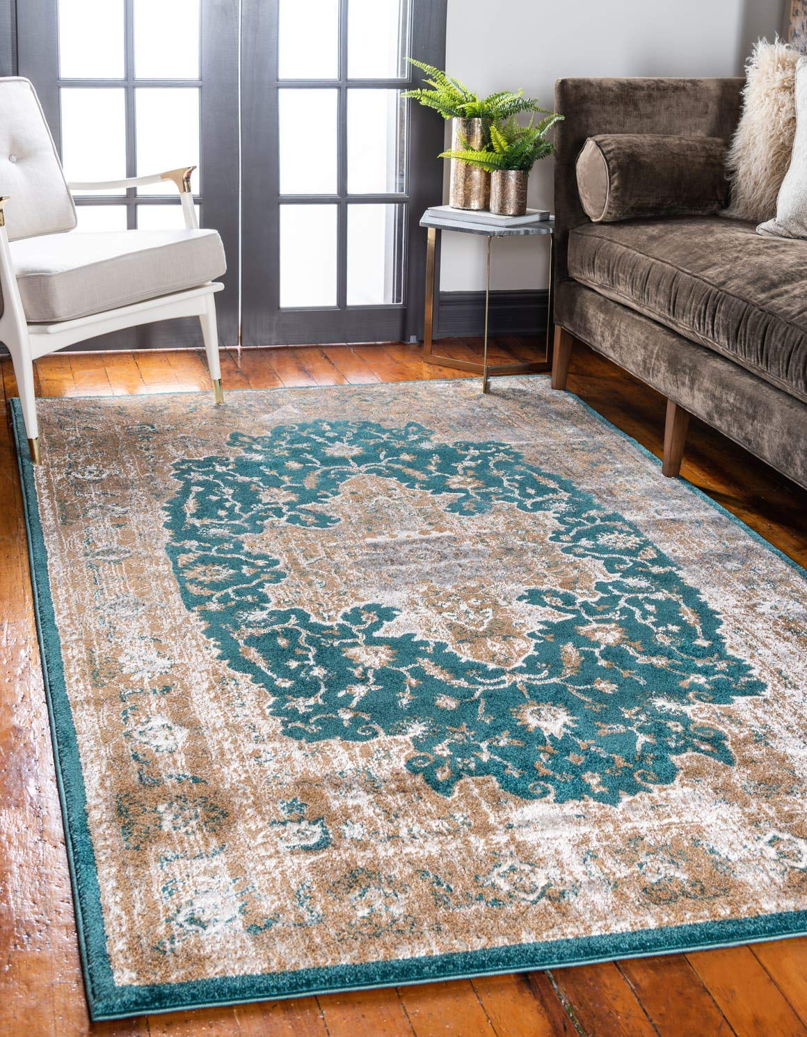 Unique Loom Aurora Collection Vintage Medallion Traditional Border Teal Area Rug 6 0 x 9 0