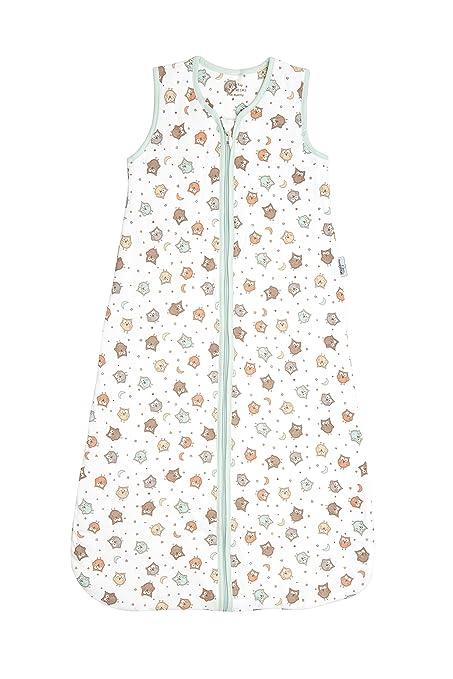 6-18 months//90cm Slumbersac Summer Baby Sleeping Bag 0.5 Tog Muslin Mint Owl