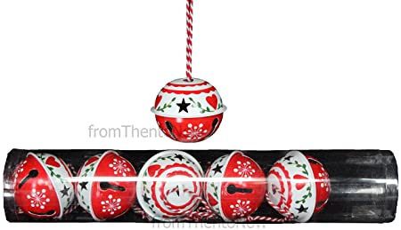 gisela graham red white set of 6 large jingle sleigh bells christmas tree decorations