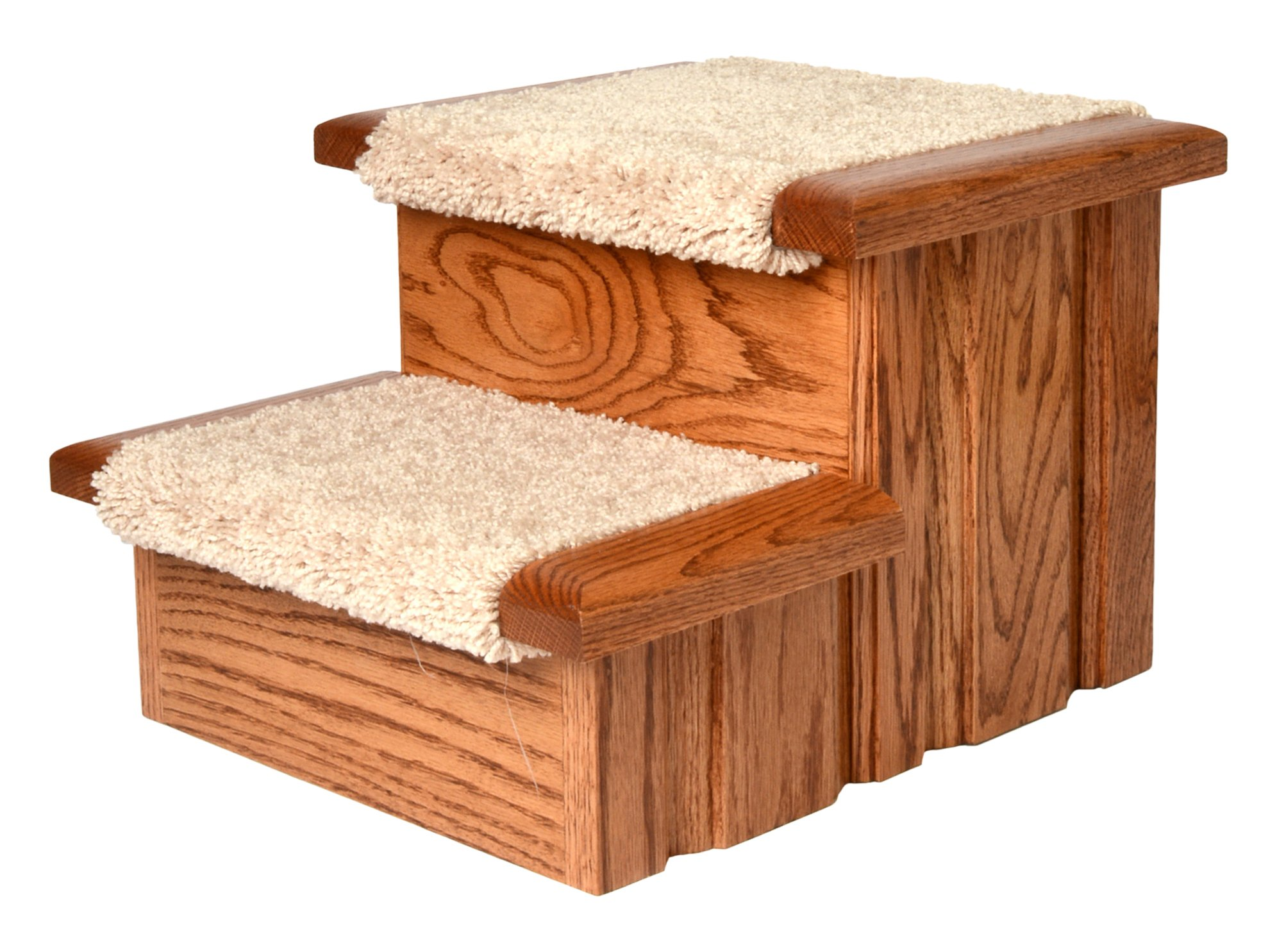 Premier Pet Steps Tall Raised Panel Dog Steps, Carpeted Tread with Stained Early American, 12-Inch