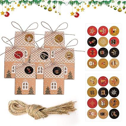 Calendario dellAvvento con 1-24 Adesivi Numerici per Natale FORMIZON 24 Calendario Dellavvento Scatole Regalo di Natale Matrimonio per Feste Natalizie Forniture Compleanni