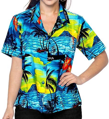 *La Leela* Regalos Mujeres Collar de Ropa de Playa con Botones de la Blusa de la Camisa Hawaiana de ...