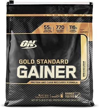Optimum Nutrition - patrón oro Gainer proteína y carbohidratos recuperación fórmula helado de vainilla - 5 libras.