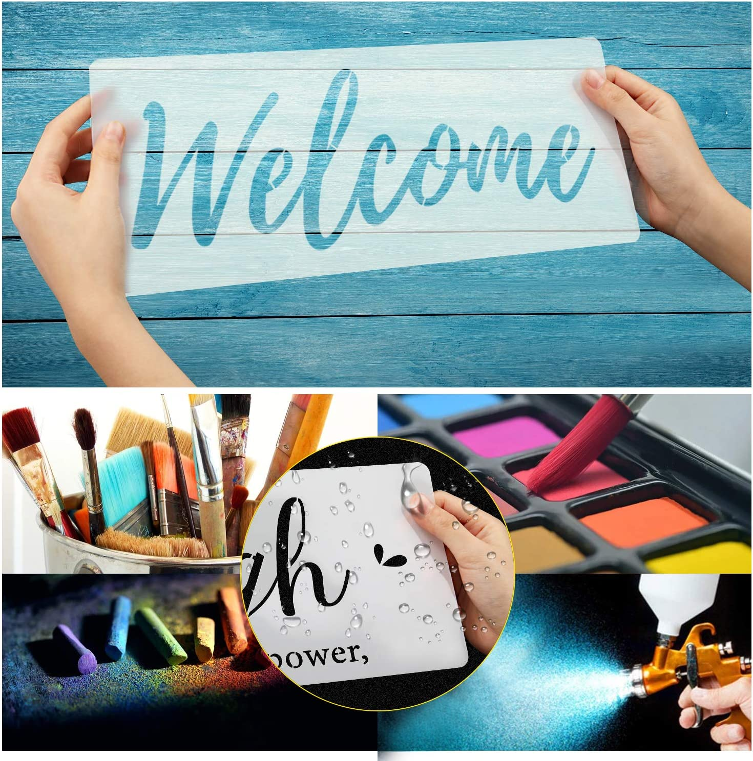 Funny Family Sign Stencil Welcome Home Reusable Stencils Essential Inspirational Stenciling Kit Templat for Painting on Wood Farmhouse DIY Home D/écor