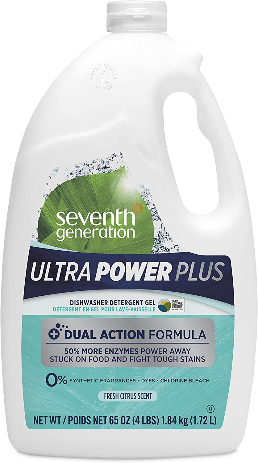 Seventh Generation Ultra Power Plus Auto Dish Gel, Fresh Citrus Scent, 65 Ounce
