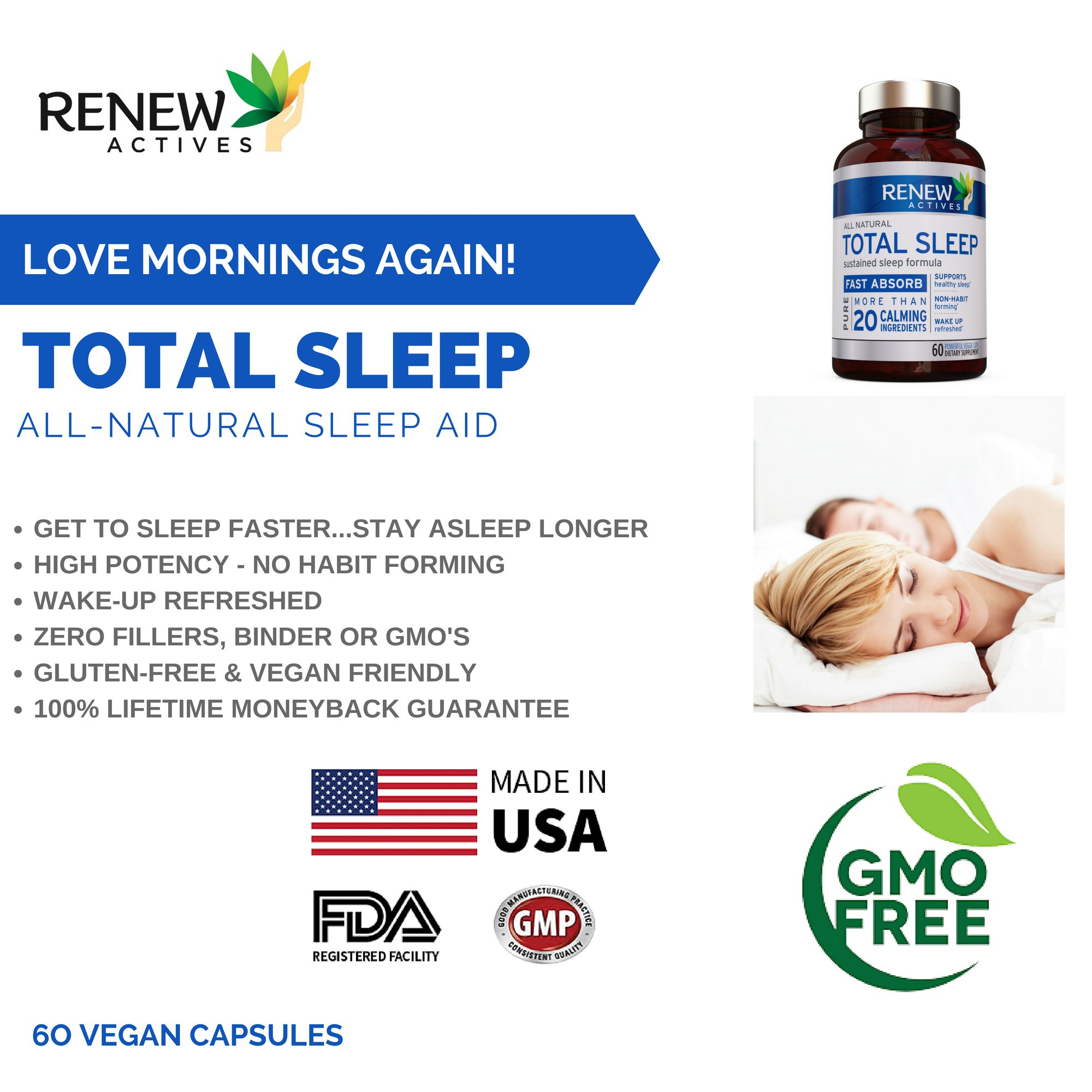 All Natural Sleep Aid Supplement. Non-Habit Forming Sleeping Pill. Our Guarantee is A Deeper, Longer & Restful Sleep! Starting Tonight Get the Peaceful & Natural Sleep You Deserve! by Renew Actives (Image #5)