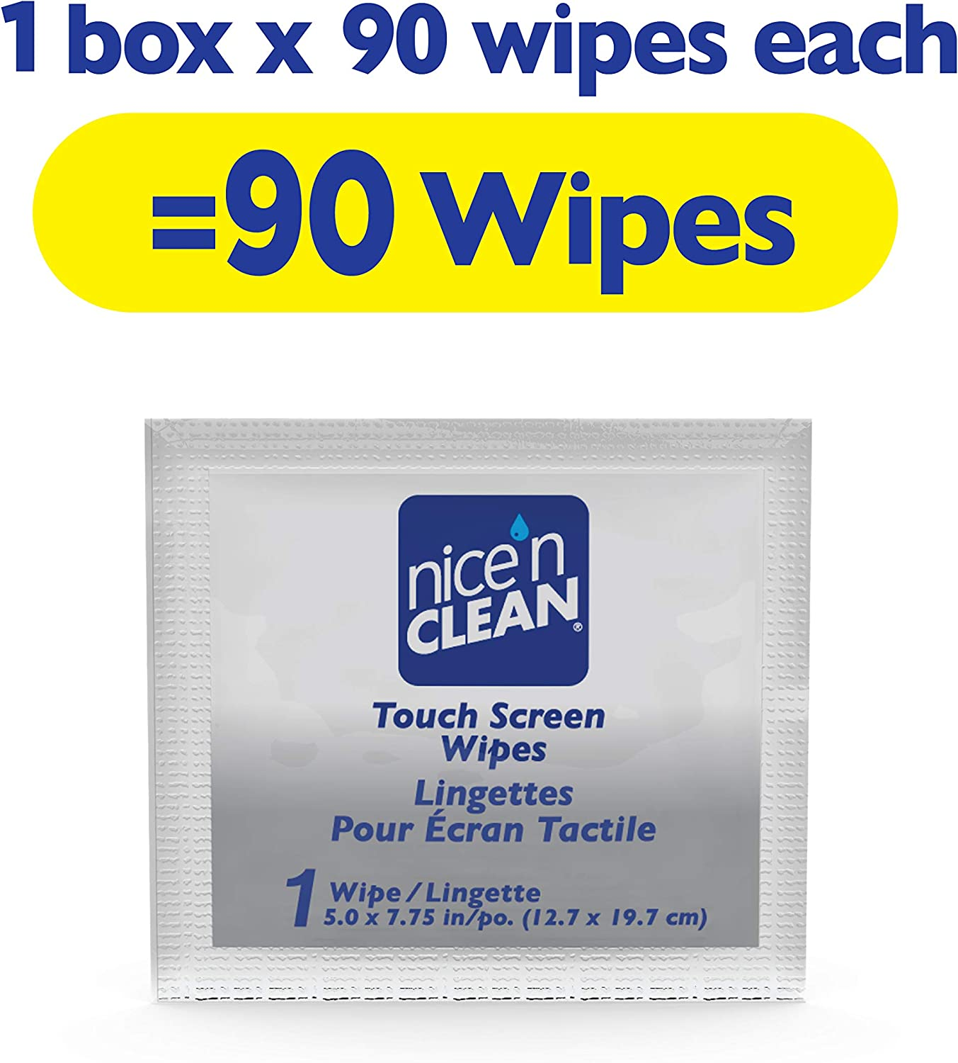 Nice n Clean Touch Screen Cleaning Wipes (90 Total Wipes) | Ammonia-Free, Pre-Moistened Individually Wrapped Wipes | Non-Scratching & Non-Streaking | Safe for Smart Phones, Tablets, Laptops, Computer (D71890)
