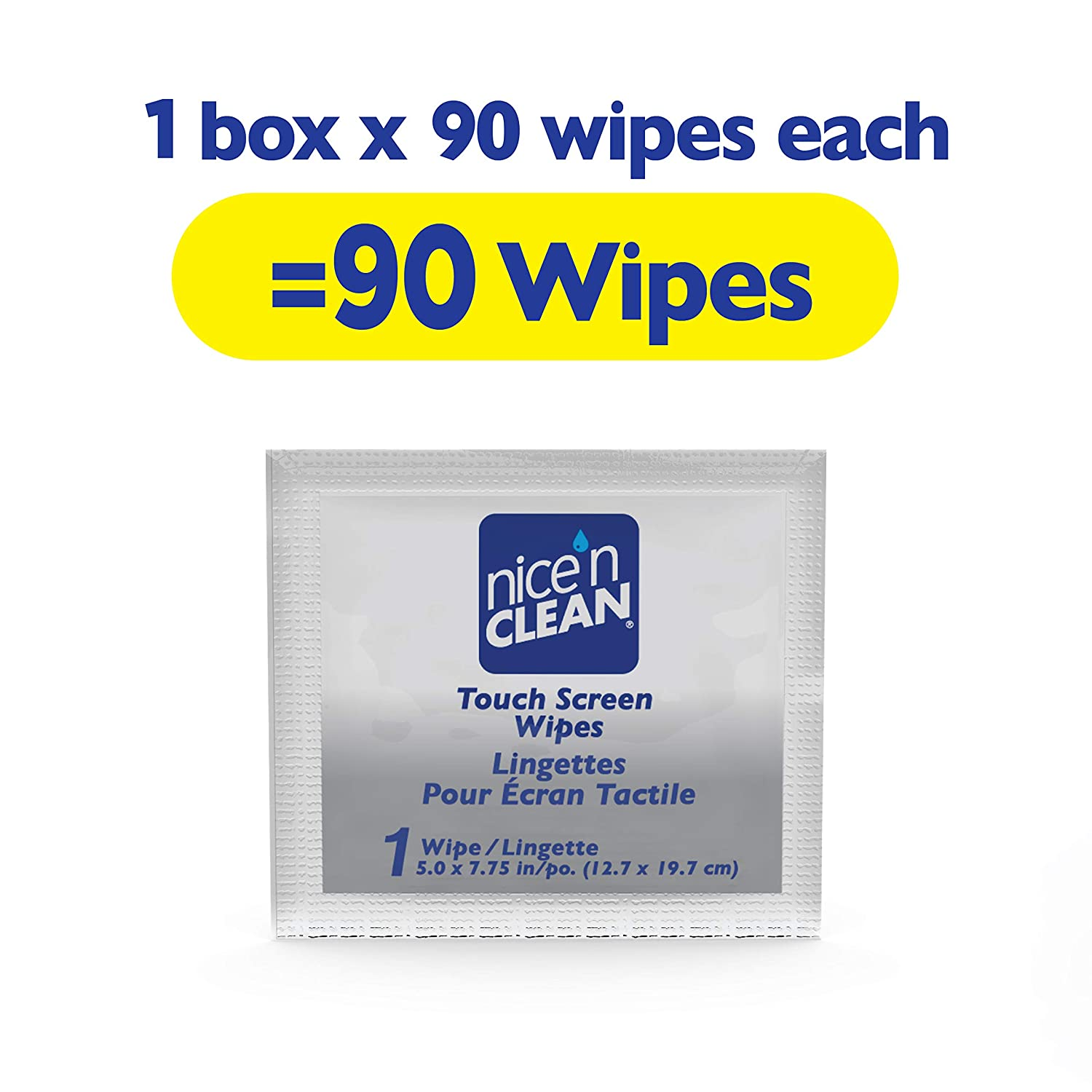 Nice n Clean Touch Screen Cleaning Wipes 90 Total Wipes  AmmoniaFree PreMoistened Individually