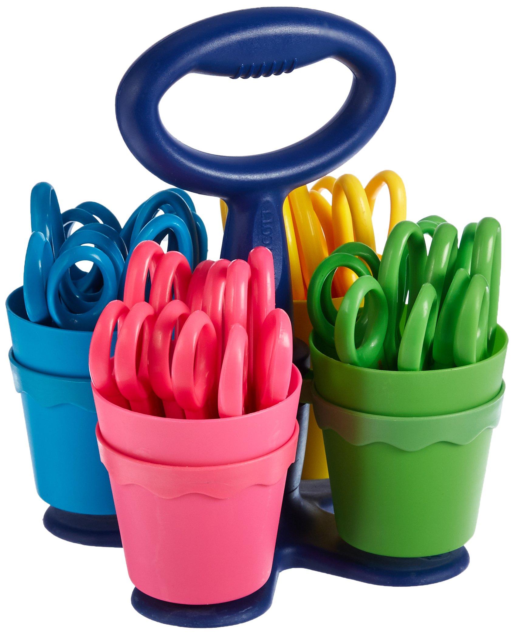 Scissor Caddy with 24 pieces 5'' Kids Blunt Scissors with Anti-Microbial (#14606) by Westcott