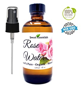Premium Organic Moroccan Rose Water - 4oz Glass Bottle - Imported From Morocco - 100% Pure (Food Grade) Perfect for Reviving, Hydrating and Rejuvenating Your Face and Neck - By Sweet Essentials