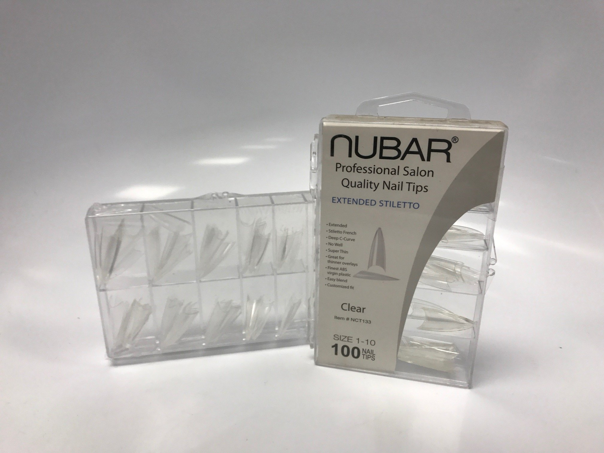 Nubar Professional Salon Quality Clear Nail Tips (Extended Stilletto) by Nubar