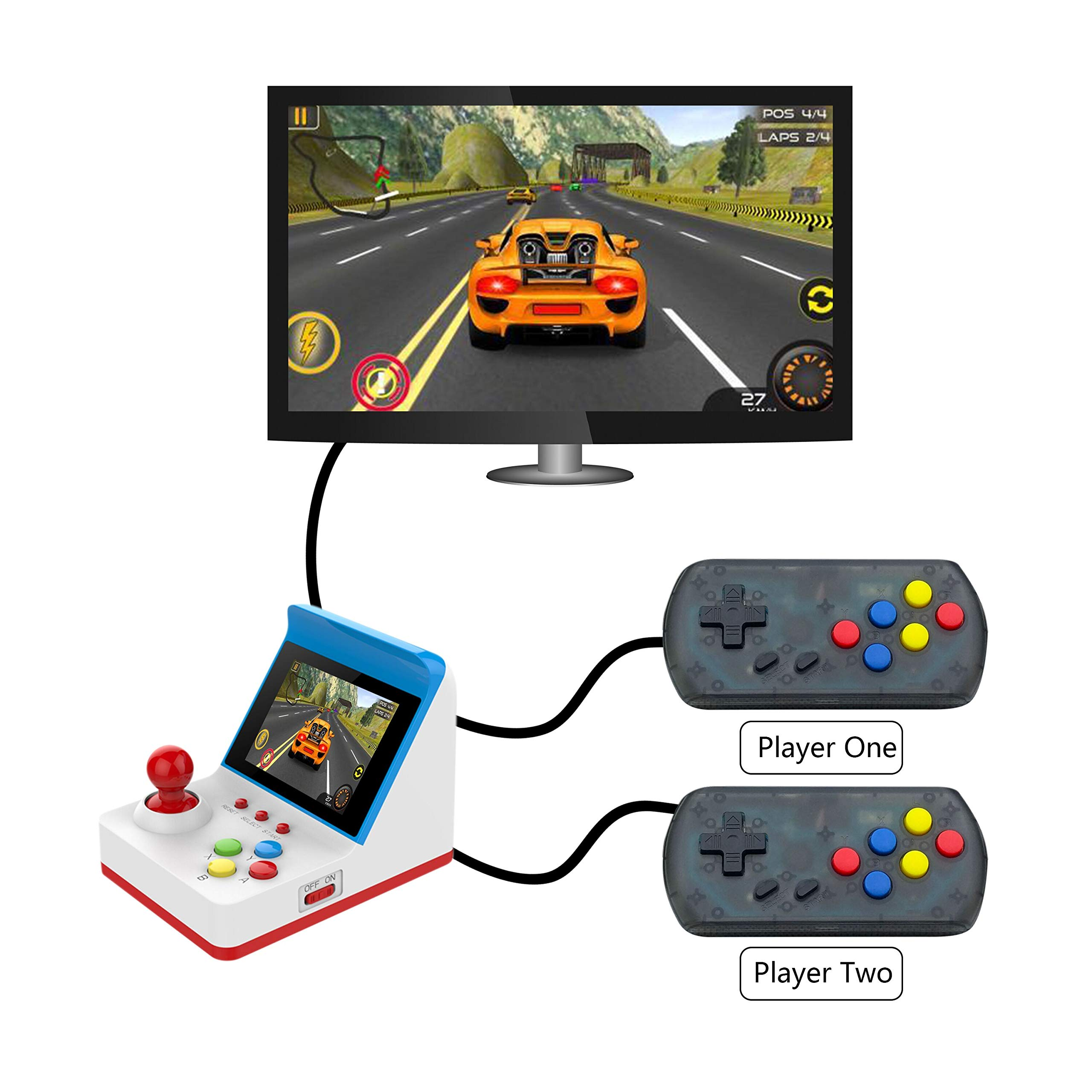 BAORUITENG Handheld Game Console, Retro FC Game Console Video Game Console with 3 Inch 360 Classic Games with 2 Joysticks , Birthday Present for Children (red) by BAORUITENG (Image #6)