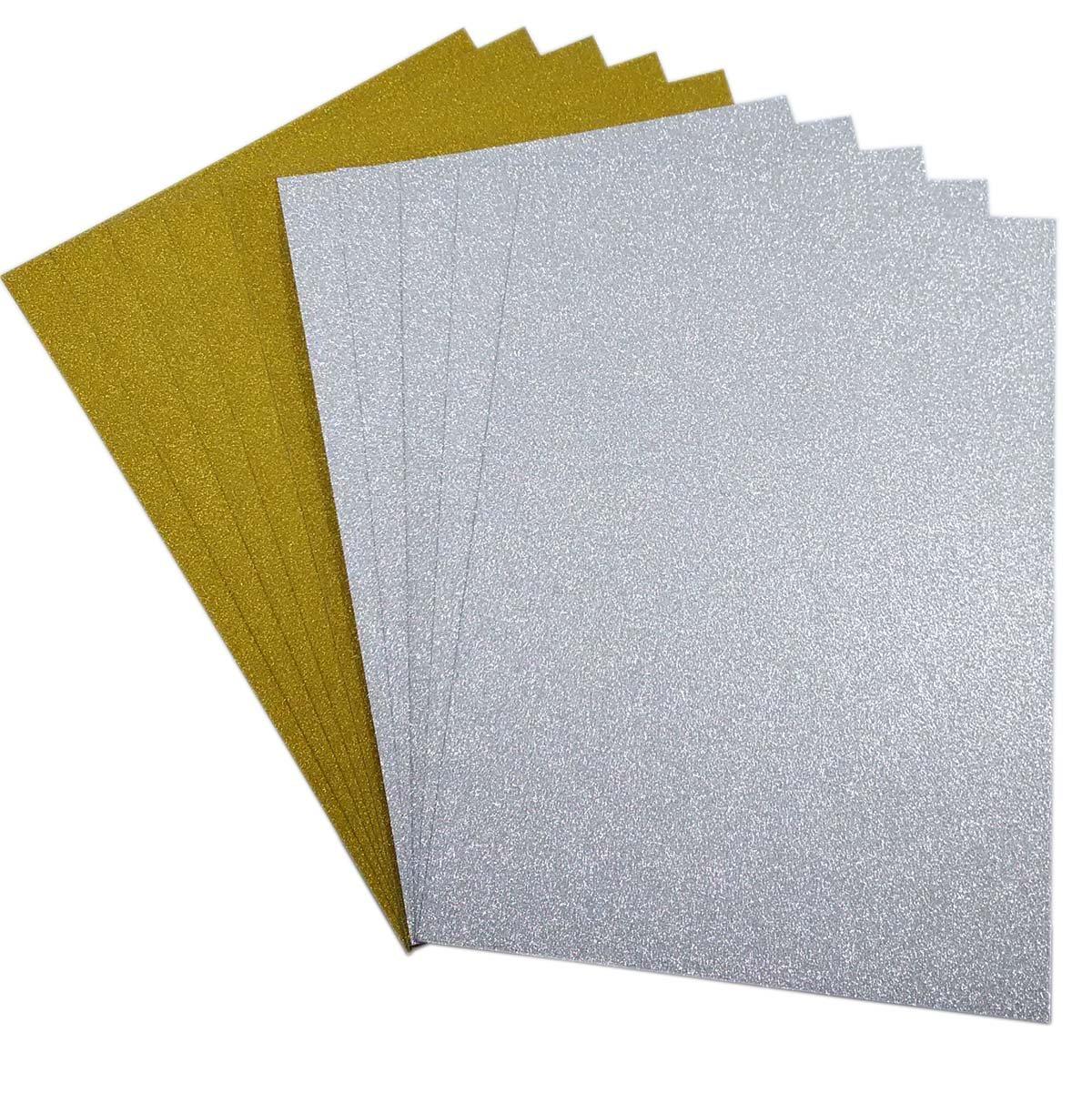10 pz Carta Glitter Colorata Cartoncini Glitter Glitterati Fogli Glitter A4 Cartoncini Colorati A4 Carte Fogli Colorati Glitter DIY per Lavoretti 5Oro+5Argento SuperHandwerk VV1-GLI001Gold+Silver