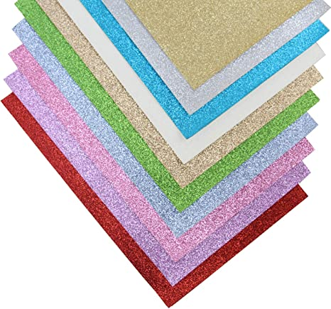 Onepine Shiny Superfine Glitter Fabric 10 Pieces 10 Colors Faux Leather Fabric Sheets Canvas Back for Earrings Hair Clips and DIY Handmade Craft 12.6 x 8.6 Inch 10 Pieces 10 Colors 32 x 22 cm