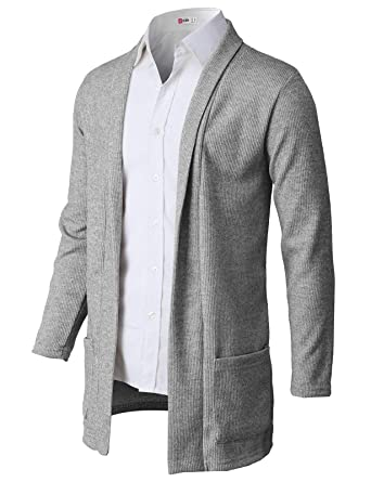 18aa391f63f H2H Mens Casual Slim Fit Knit Cardigan with Double Shawl Collar