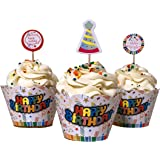 Set of 12+12 Happy Birthday cupcake decoration wrappers and picks!
