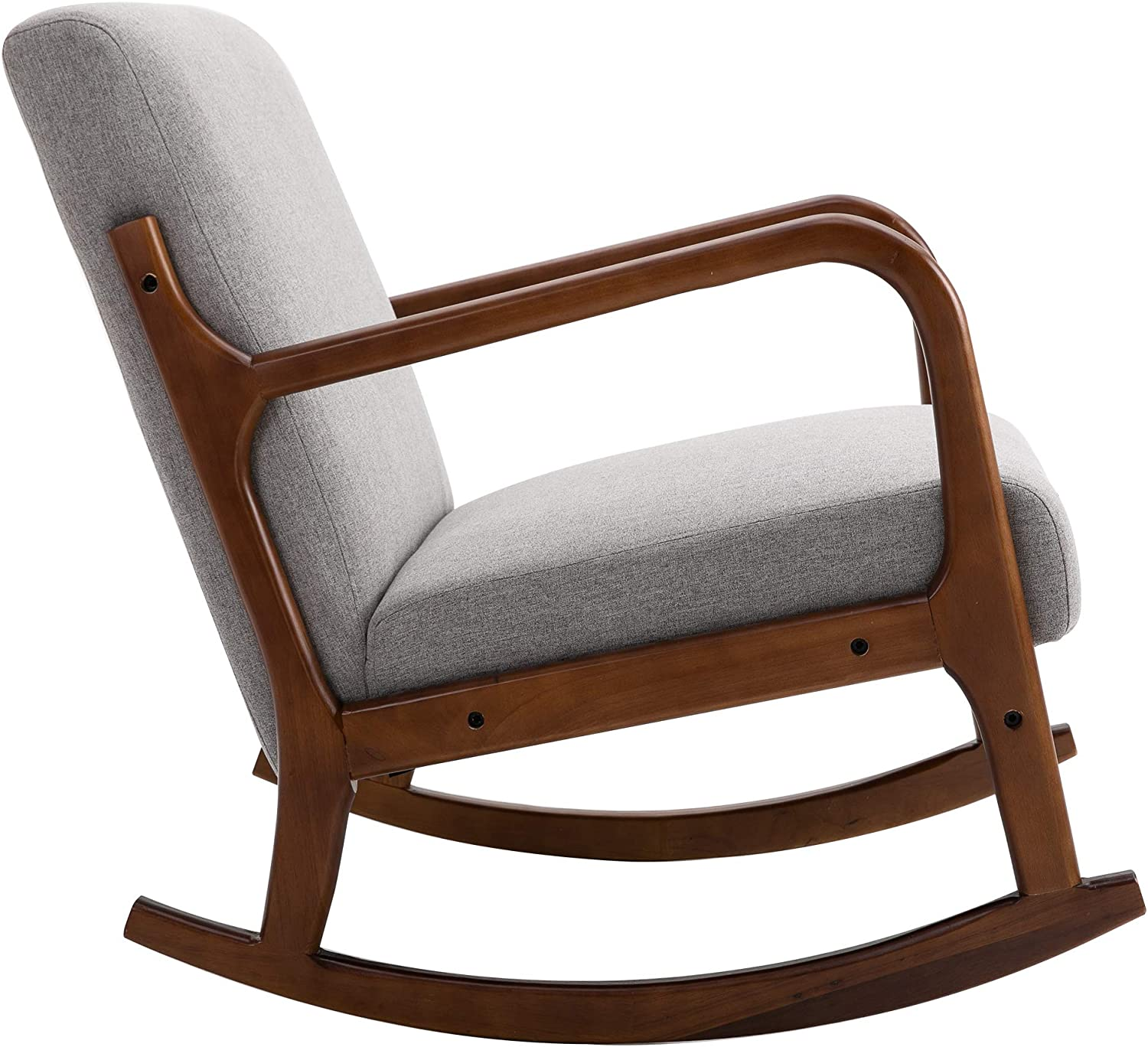 HOMCOM Rocking Chair with Curved Wood Base, Fabric Rocker with Padded Seat Home Furniture Bedroom Living Room Relax, Grey