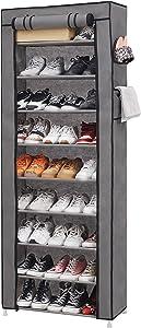 PENGKE 9 Tiers Shoe Rack with Dustproof Cover Closet Shoe Storage Cabinet Organizer,Grey