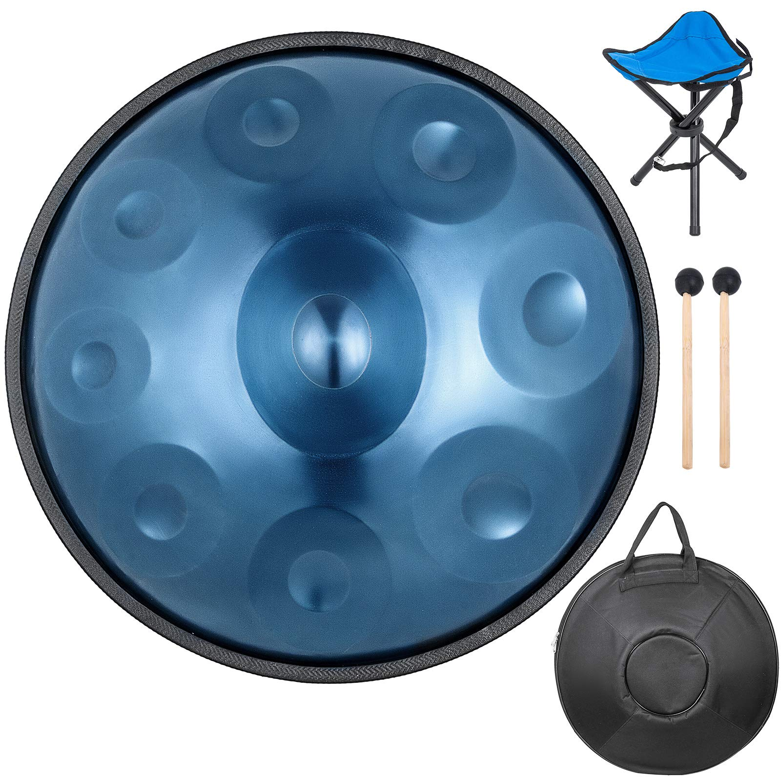 Happybuy Handpan In D Minor 9 Notes Steel Hand Drum with Soft Hand Pan Bag Hand Pan Hang Drum 2 (22.8'' (58cm) Deep Blue (d Minor) 9 Notes (d3 A Bb C D E F G A) by Happybuy