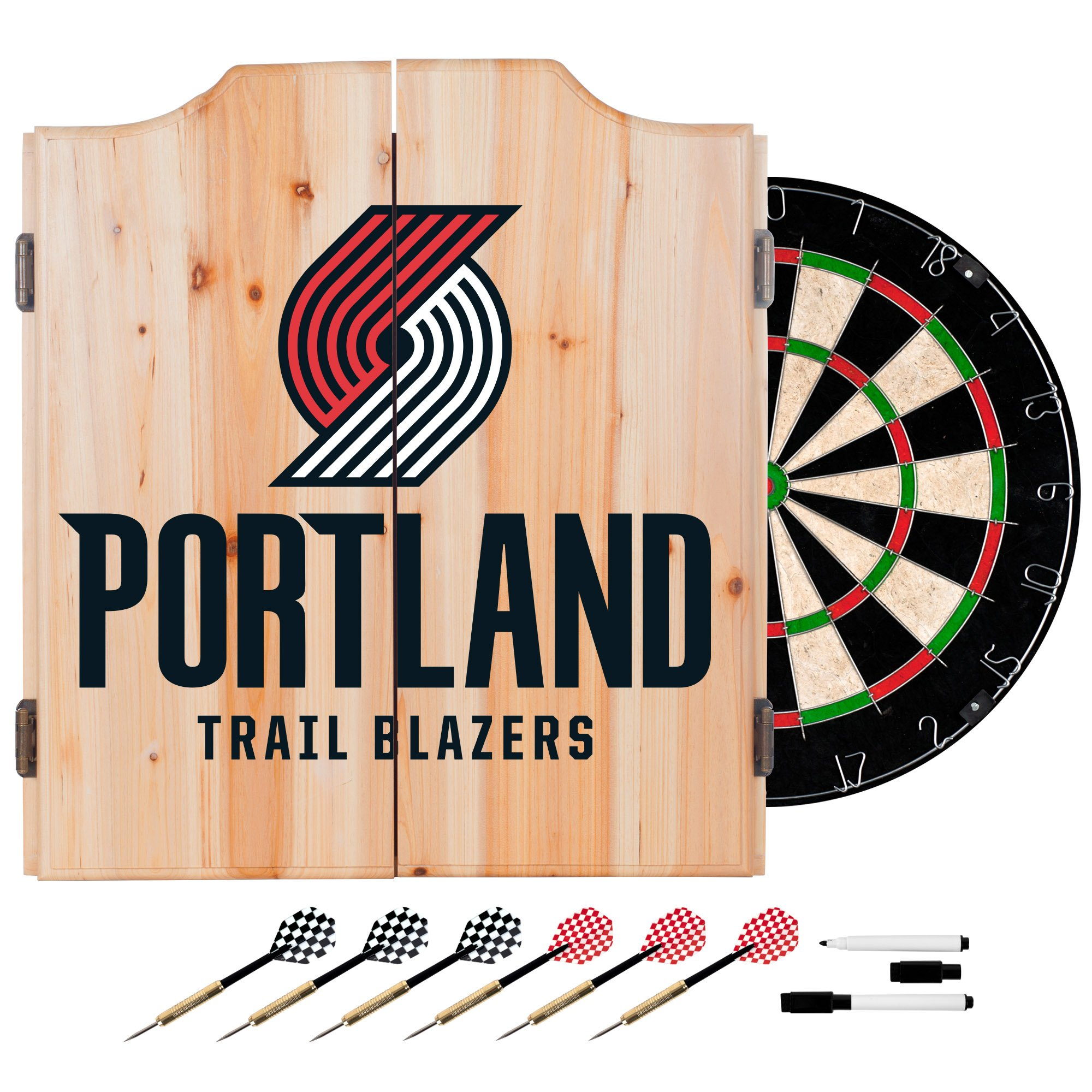 Trademark Gameroom NBA Portland Trail Blazers Wood Dart Cabinet Set by Trademark Gameroom