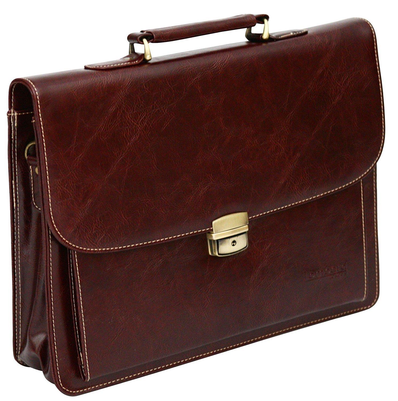 Aktentasche in Lederoptik aus PU - Laptop-Tasche für das Büro - Braun