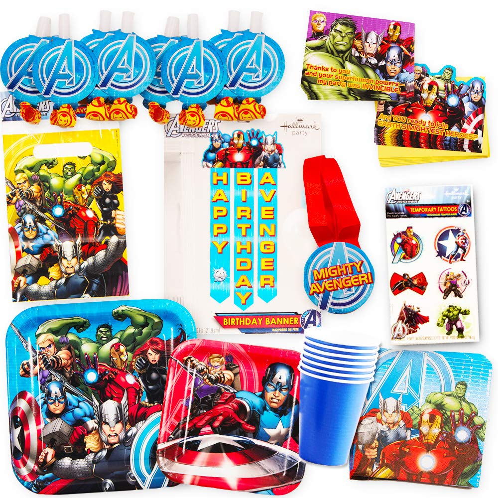 Marvel Avengers Party Supplies Ultimate Set (85 Pieces) -- Party Favors, Birthday Party Decorations, Plates, Cups, Napkins, Invitations and More! by Marvel (Image #1)
