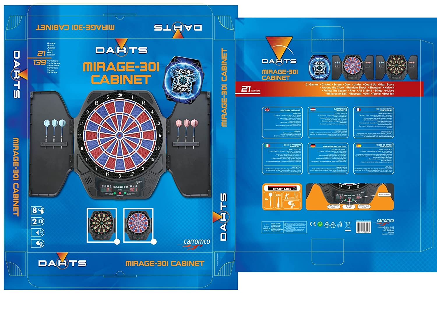 Carromco Mirage 301 Cabinett Dartboard Black Amazon Co Uk Sports