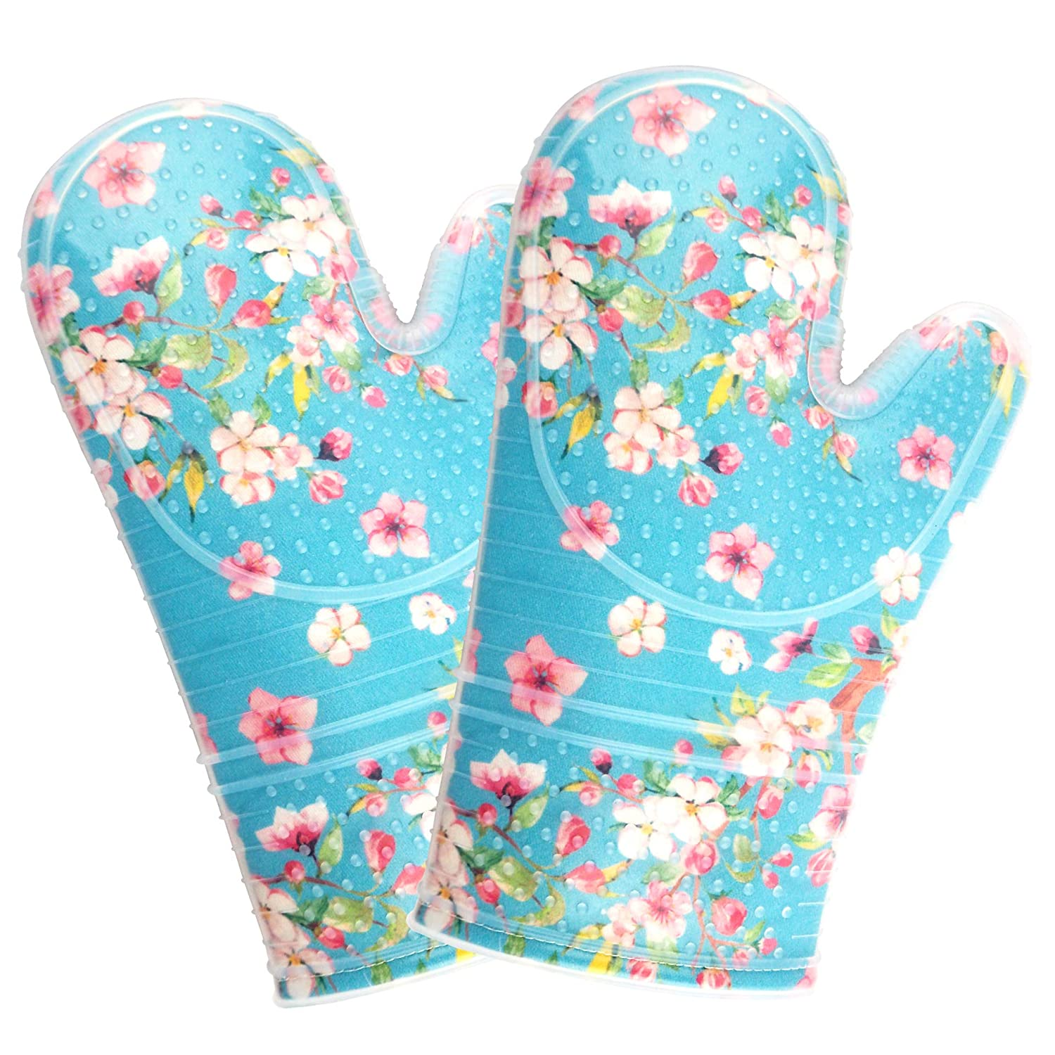 FERLLYMI Oven Mitts with Transparent Clear Silicone Heat Resistant to 500 F Set of 2 pcs, Nice Printing Cotton Lining, Oven Gloves and Pot Holders for Kitchen Cooking (Plum Blossom)
