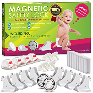 Amazon Com Invisible Magnetic Cabinet Locks Child Safety Kit Secure Kitchen Bedroom Cabinets Cupboards With 8 Baby Proofing Cabinets Door Drawer Locks For Kids Toddlers 2 Keys 3m