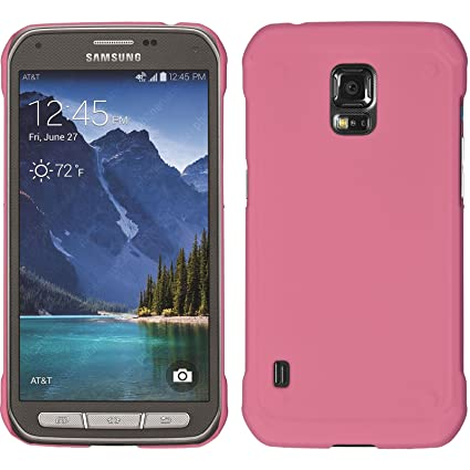 online retailer d0d51 b7893 PhoneNatic Hardcase Compatible with Samsung Galaxy S5 Active - Rubberized  Pink Cover Cover