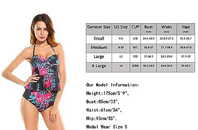 7a5985e5513 Amazon.com: Womens Peplum Swimsuit High Wasted Bikini Bathing Suits Floral  Tankini (FBA) Red Black: Clothing