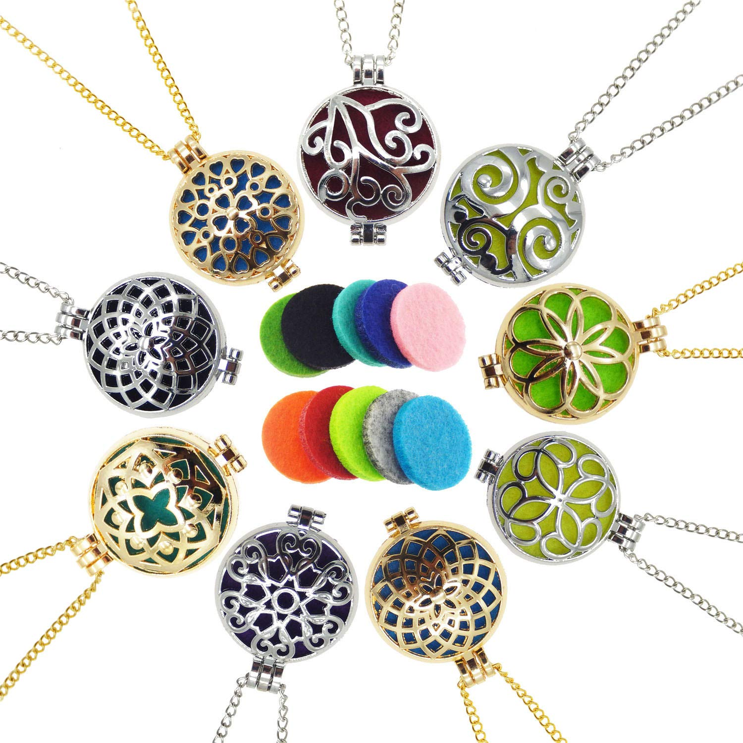 Julie Wang Bulk Sale 9pcs Aromatherapy Enssential Oil Diffuser Necklace Locket Pendants Gift GR-754-B