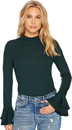 a1f7faa02d17d3 1.State Womens Long Sleeve Mock Neck Top with Double Ruffle Cuff at Amazon  Women s Clothing store