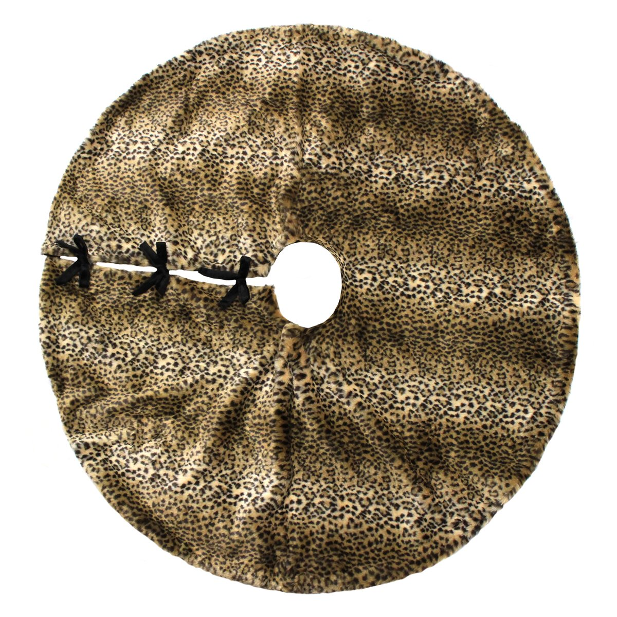 34th & Pine Luxury Plush Faux Fur 52'' Christmas Tree Skirt - Leopard / Cheetah