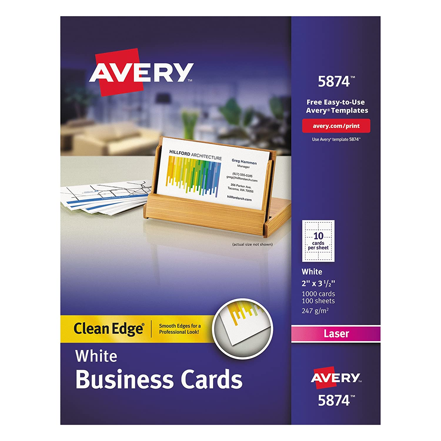 Amazon.com : Avery Two-Side Printable Clean Edge Business Cards for ...