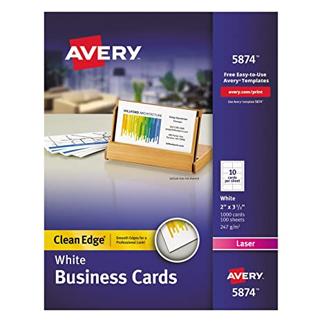 Amazon avery two side printable clean edge business cards for avery two side printable clean edge business cards for laser printers white box reheart Choice Image